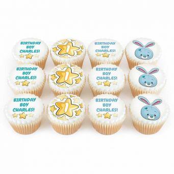 12 Blue Bunny Cupcakes