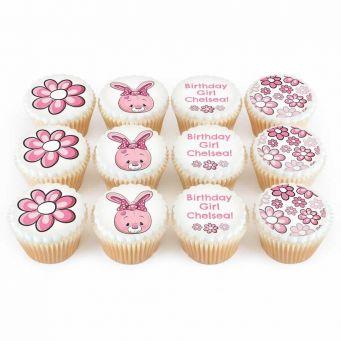 12 Pink Bunny cupcakes