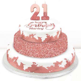 21st Birthday Rose Foil Cake
