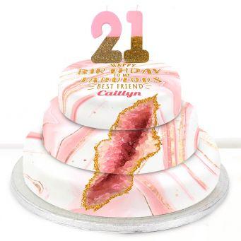 21st Birthday Pink Foil Cake