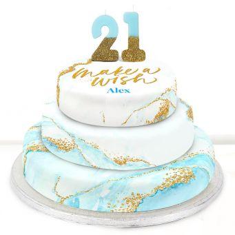 21st Birthday Blue Foil Cake