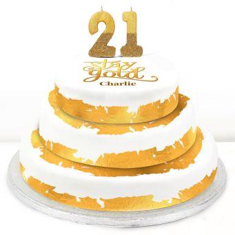 21st Birthday Gold Foil Cake