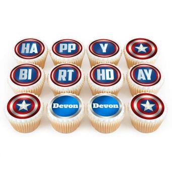 12 Captain America Cupcakes