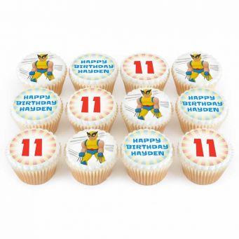 12 Wolf Superhero Cupcakes