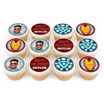 12 Iron Man Photo Cupcakes