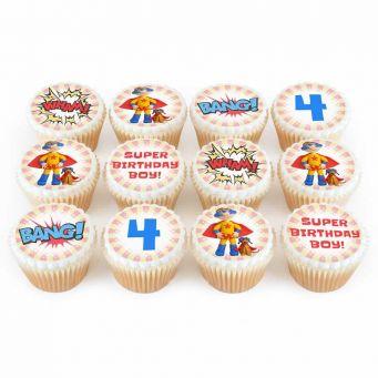 12 Super Boy Cupcakes