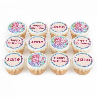 12 Vintage Floral Cupcakes