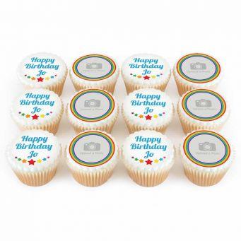 12 Rainbow Photo Cupcakes