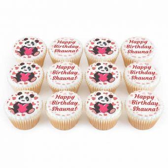 12 Panda Heart Cupcakes