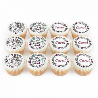 12 Patterned Border Cupcakes
