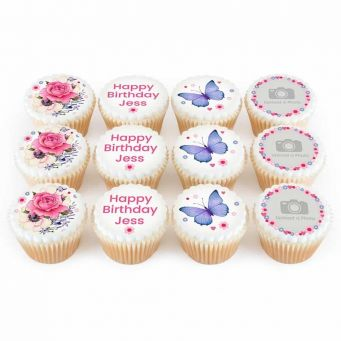 12 Floral Birthday Photo Cupcakes