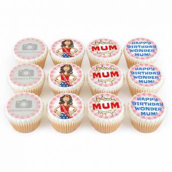 12 Super Mum Photo Cupcakes