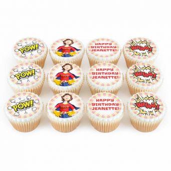 12 Female Superhero Cupcakes