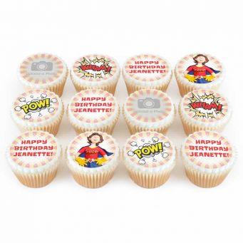 12 Female Super Photo Cupcakes
