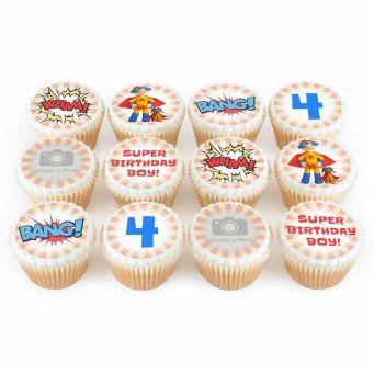 12 Super Boy Photo Cupcakes