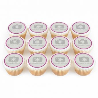 12 Pink Photo Cupcakes