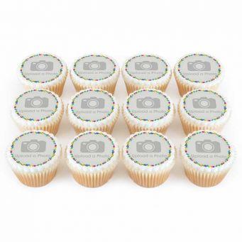 12 Confetti Photo Cupcakes