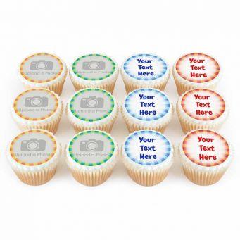12 Stripey Photo & Text Cupcakes