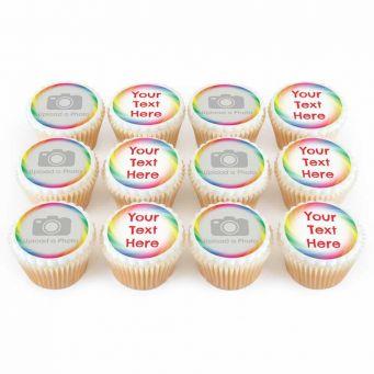 12 Rainbow Photo & Text Cupcakes