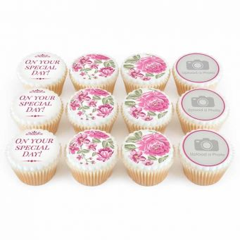 12 Pink Floral Photo Cupcakes