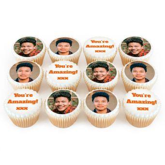 2 Photos and 1 Text on 4 Cupcakes Each