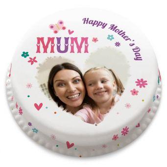 Mum Heart Photo Cake