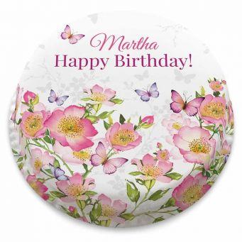 Pink Rosey Butterflies Cake