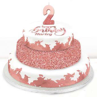 2nd Birthday Rose Foil Cake