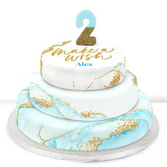 2nd Birthday Blue Foil Cake