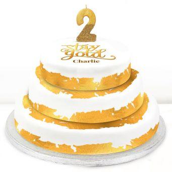 2nd Birthday Gold Foil Cake
