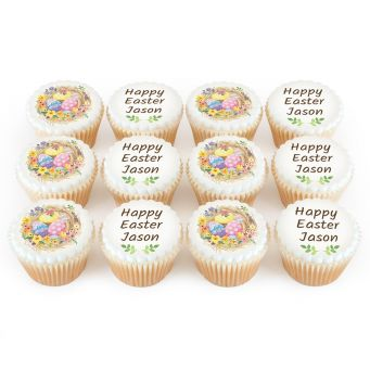 12 Easter Egg Nest Cupcakes
