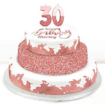 30th Birthday Rose Foil Cake