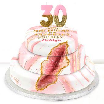 30th Birthday Pink Foil Cake