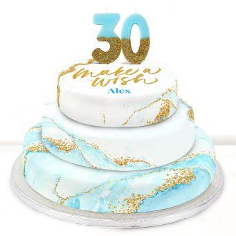 30th Birthday Blue Foil Cake
