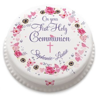 Pink Flower Communion Cake
