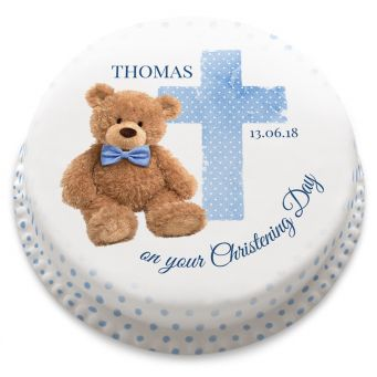 Blue Teddy Christening Cake