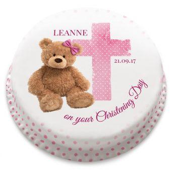 Pink Ted Christening Cake