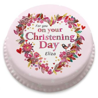 Pink Heart Christening Cake