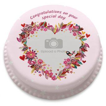 Pink Flower Heart Cake