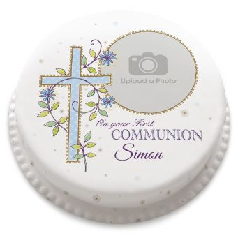 Blue First Communion Cake