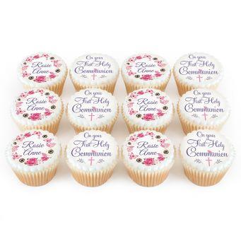 12 Pink Communion Cupcakes