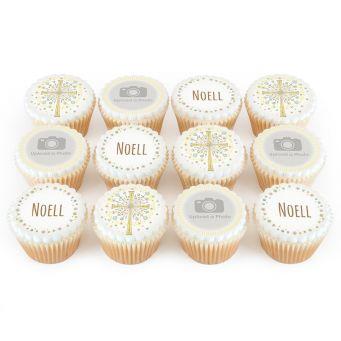 12 Glittery Cross Cupcakes