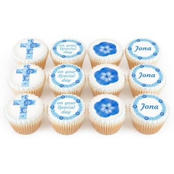 12 Blue Flower Cross Cupcakes