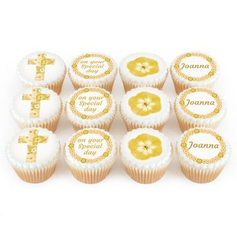 12 Gold Flower Cross Cupcakes