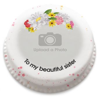 Flower Crown Photo Cake
