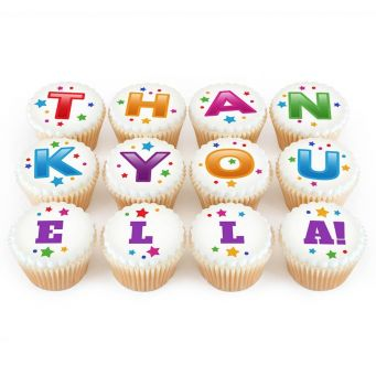 12 Thank You Name Cupcakes