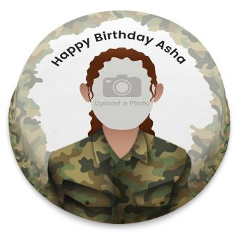 Female Soldier Photo Cake