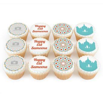 12 Eid Pattern Cupcakes