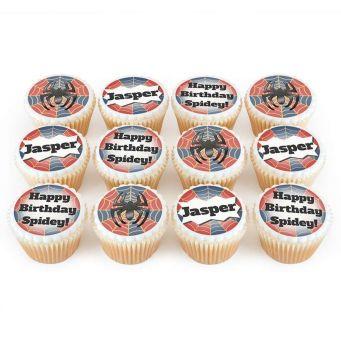 12 Spider Logo Cupcakes