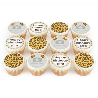 12 Leopard Photo Cupcakes